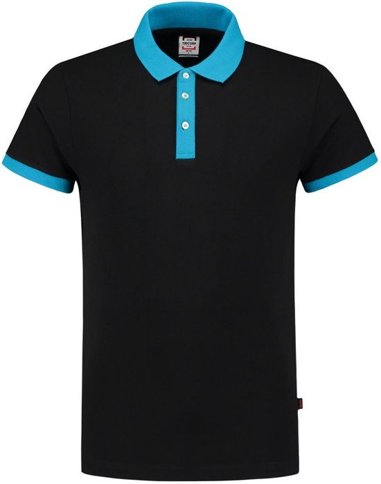 Tricorp poloshirt bi-color fitted - Casual - 201002 - zwart-turquoise - maat 5XL