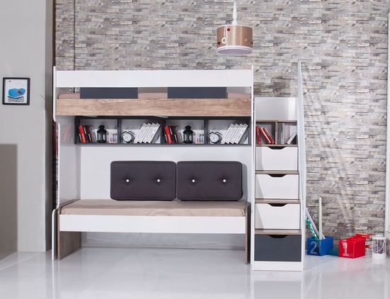 Compact Kinderkamer Voor Kleine Kamer Hoogslaper Kinderbed
