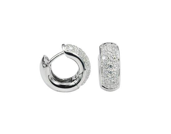 Behave oorringen gerhodineerd 925 Sterling Zilver met zirkonia stenen