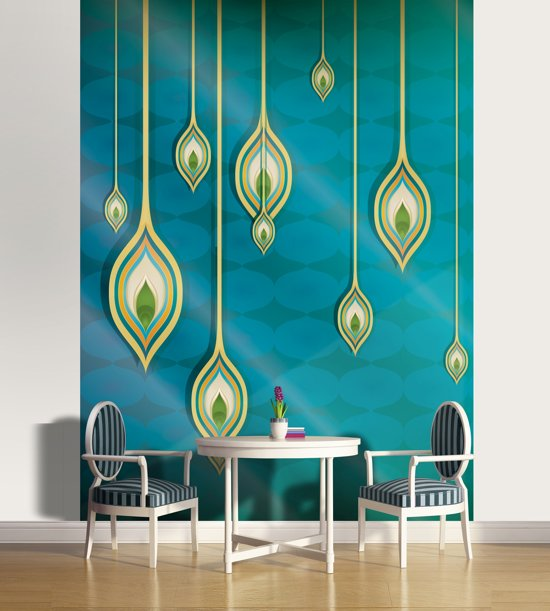 Yellow | Turquoise Photomural, wallcovering