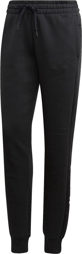 adidas W Essentials Linear Pant Fl Dames Broek - Black/White - Maat S