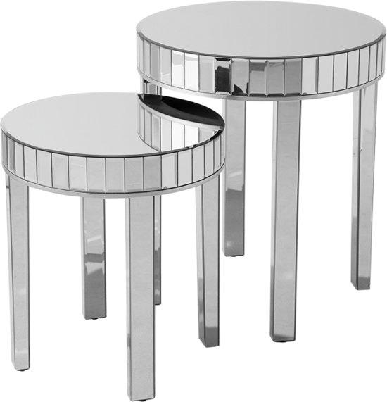 Set Van 3 Glazen Bijzettafels.Beliani Rimarde Bijzettafel Set Van 2 Zilver Glas