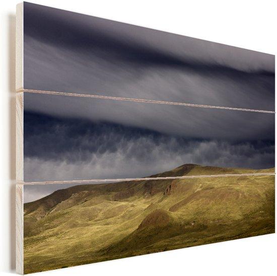 Stormachtig weer bij het nationale park Nahuel Huapi in Argentinie Vurenhout met planken 30x20 cm - klein - Foto print op Hout (Wanddecoratie)