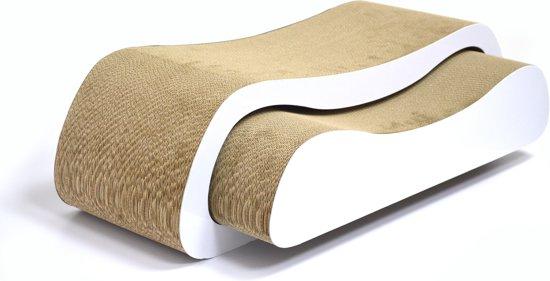 4animalz Duo White - kartonnen krabpaal voor katten - 74x24x21,5cm