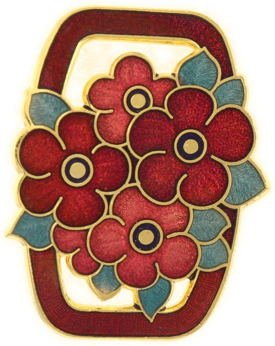 Behave® Dames Broche rechthoek bloemetjes rood - emaille sierspeld -  sjaalspeld  4,3 cm