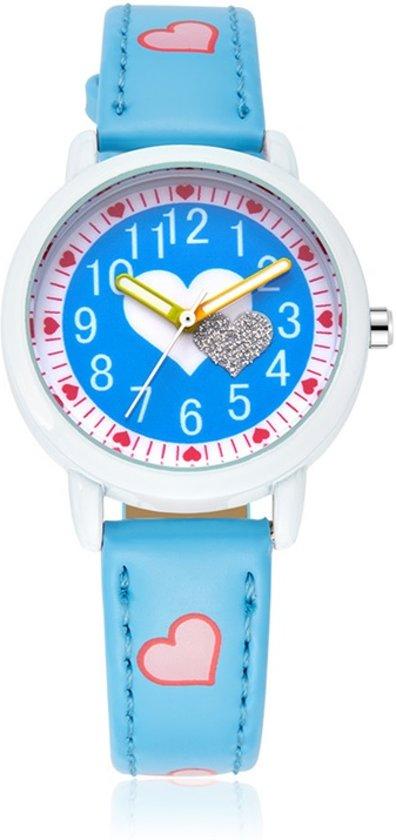 Meisjes Horloge - Hartjes – Leren Bandje – Blauw