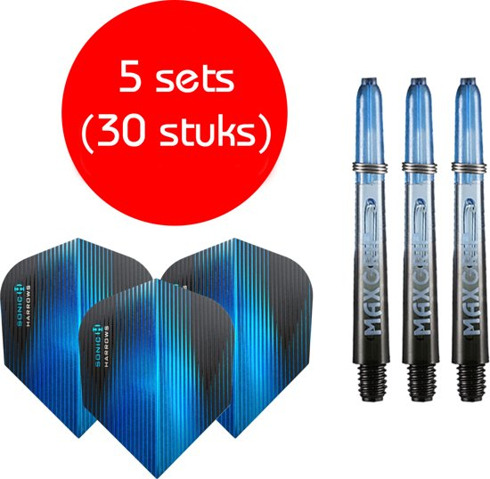 Dragon darts - Maxgrip – 5 sets - darts shafts - zwart-blauw - short – en 5 sets – Sonic blauw – darts flights