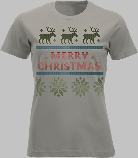 T-shirt OUBOLLIG KERSTTRUI-MOTIEF OP JE T-SHIRT - Zandgrijs - M