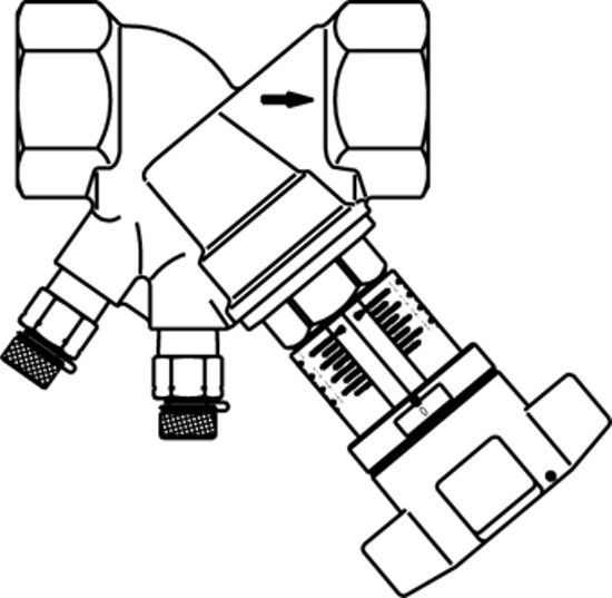 Oventrop inregelafsluiter cpl 1 dn25 pn25 kvs = 8,89 m3/h binnendraad 1060208