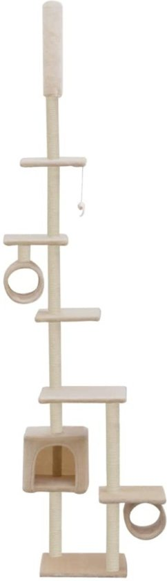 Kattenkrabpaal met sisal krabpalen 260 cm beige