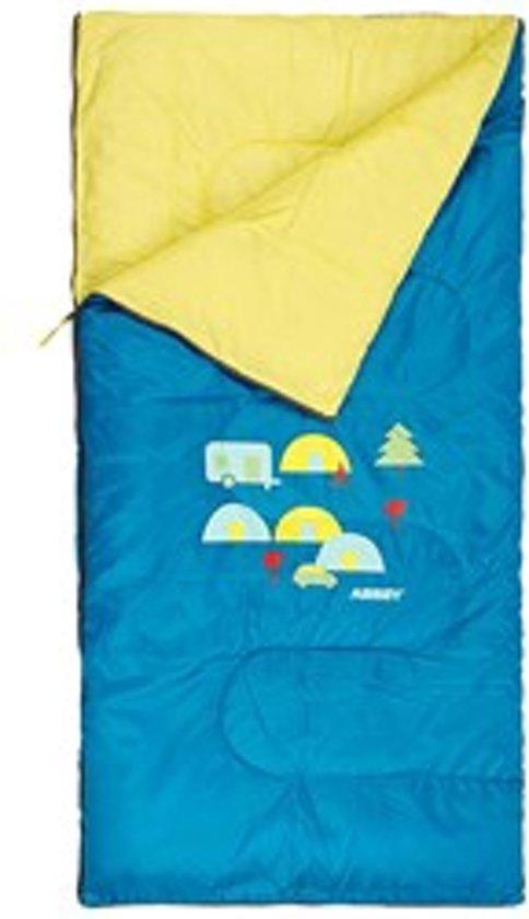 f1f80636a98248 Kinderslaapzak - dekenmodel slaapzak - 70 x 140 cm - blauw camping -  slaapzak kids
