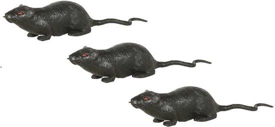 3x Grote plastic ratten 20 cm - Halloween/horror decoratie/versiering - Enge rat 3 stuks
