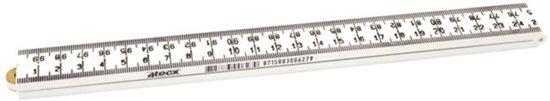 4TECX Duimstok timmermans - kunststof - 4-delig - 8624-wit 1m