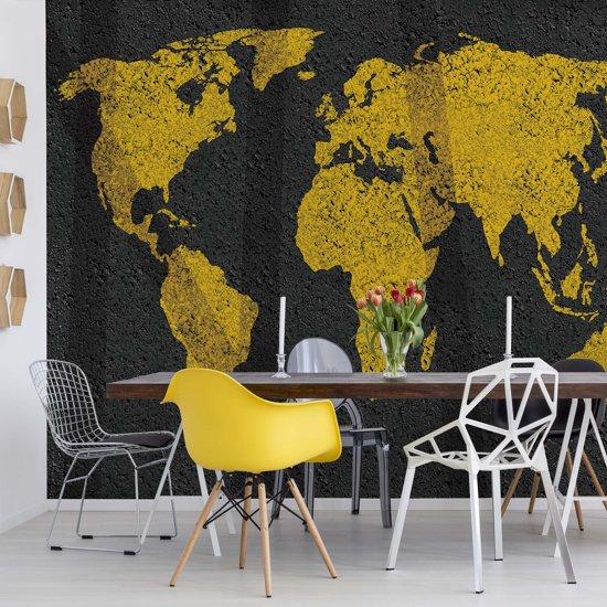 Fotobehang Modern World Map Grunge Texture | VEL - 152.5cm x 104cm | 130gr/m2 Vlies