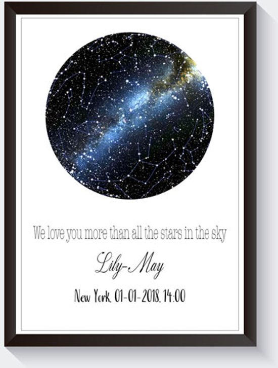 Geboorteposter sterrenhemel poster - Baby tekstposter - Sterrenkaart - Geboortecadeau - Kraamcadeau - Geen frame A3