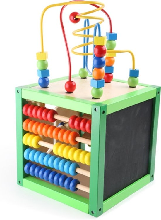 Afbeelding van Kralenspiraal - Trainingskubus: Tellen, schrijven, rekenen - Multi kleuren - Hout speelgoed vanaf 1 jaar speelgoed