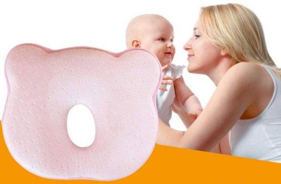 Orthopedisch baby hoofdkussen - Hoofd vormend kussen - Tegen afgeplat hoofd - Traagschuim - Hoofd & Nek ondersteuning - Roze - Veilig slapen - Kraam cadeau -