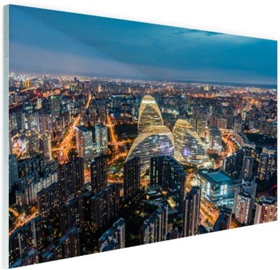 FotoCadeau.nl - Luchtfoto van Beijing skyline Glas 90x60 cm - Foto print op Glas (Plexiglas wanddecoratie)