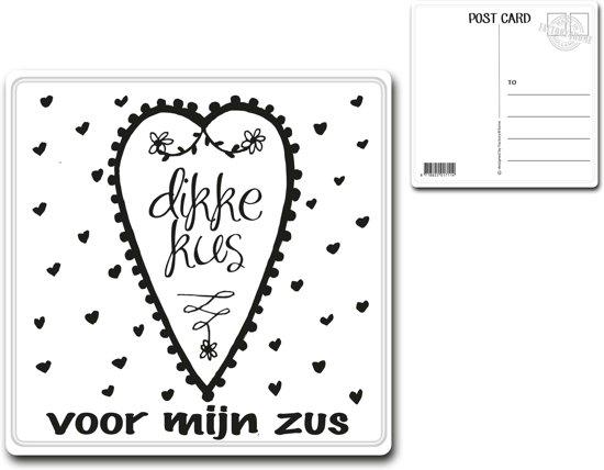 Metalen kaart 15x15cm Dikke kus voor mijn zus - 107134122016