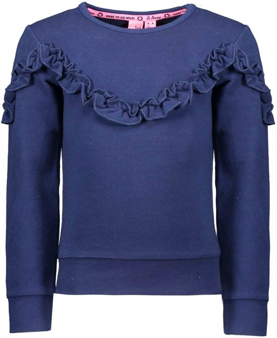 B-Nosy Meisjes sweaters B-Nosy Girls sweater with ruffle detail blauw 146/152