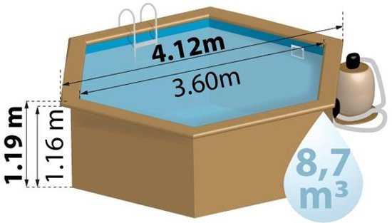 Zwembad Normandie set grenen rond 412