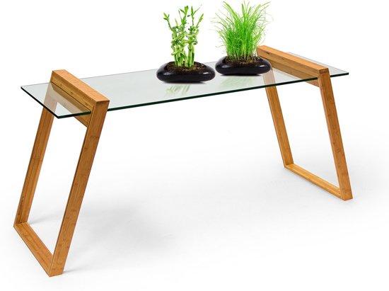 Glasplaat Voor Tafel : Bol relaxdays bijzettafel glasplaat houten tafel bamboe