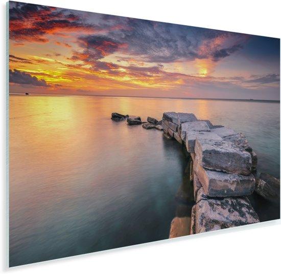Pad naar zee tijdens zonsondergang bij Sipadan-eiland in Maleisië Plexiglas 180x120 cm - Foto print op Glas (Plexiglas wanddecoratie) XXL / Groot formaat!