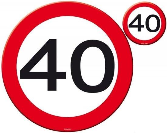 40 jaar bord bol.| 40 Jaar Verkeersbord Placemat en Onderzetter Set   4x  40 jaar bord