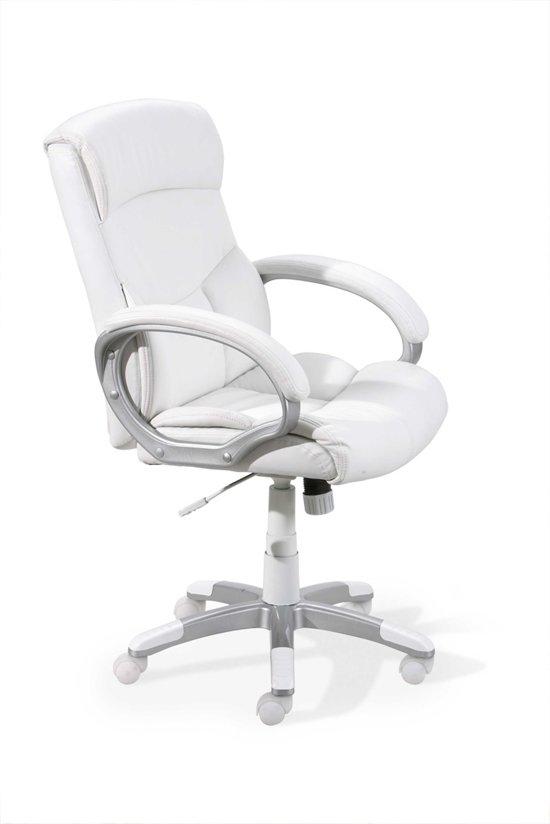 Nieuw bol.com | Interlink Bureaustoel wit leer luxe TB-06