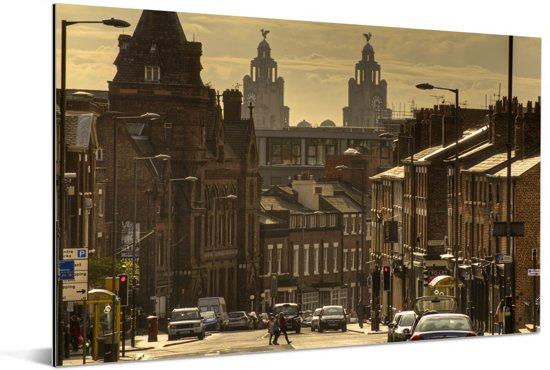 Een straat bij Liverpool in het Verenigd Koninkrijk Aluminium 120x80 cm - Foto print op Aluminium (metaal wanddecoratie)