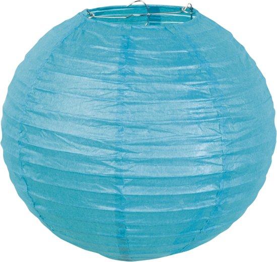 Boland Lampion Papieren lampion blauw met draadstalen frame 25cm Blauw