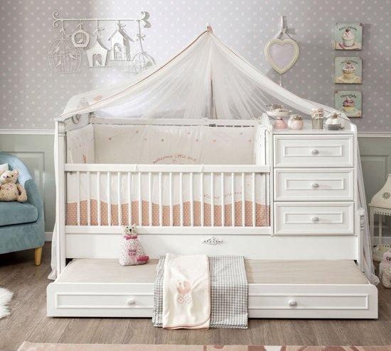 Babybed Aan Bed.Romantic Babybed Ledikant Meegroeibed 4 In 1