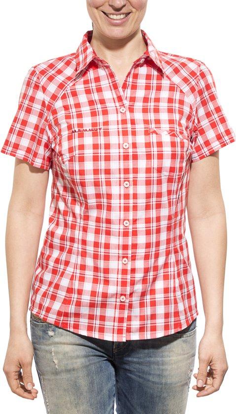 Mammut Hörnli Hut blouse korte mouw Dames rood/wit Maat S