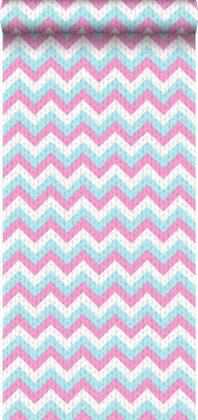 HD vliesbehang zigzag turquoise en roze - 138136 van ESTAhome.nl