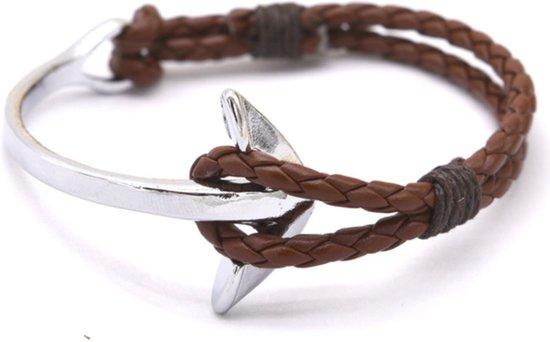 ff7cf6e454f bol.com | Handgemaakt leren armband - heren - Bruin zilver