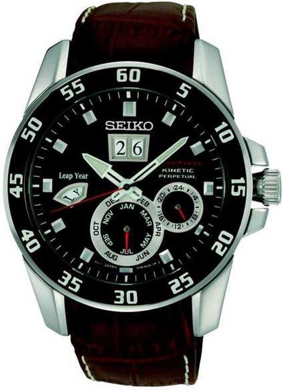 Seiko SNP055P2 - Horloge - 42 mm - Bruin - Kinetic uurwerk