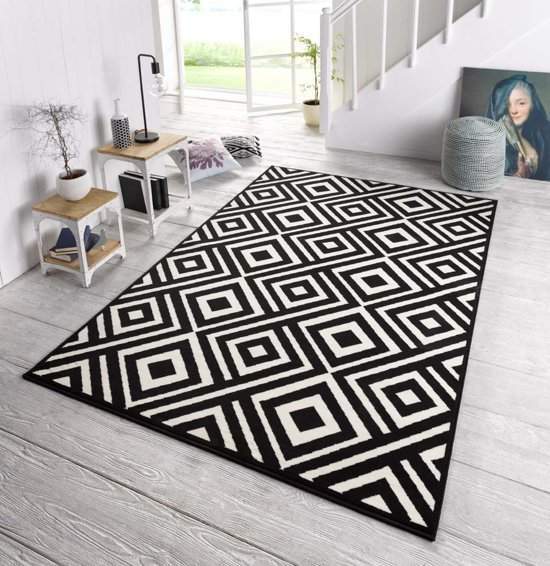 Vloerkleed Design Zala Living art zwart / creme 70x140cm