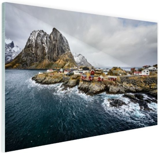 Lofoten landschap Glas 30x20 cm - klein - Foto print op Glas (Plexiglas wanddecoratie)