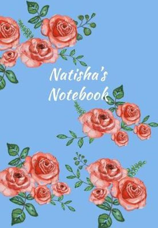 Natisha's Notebook: Personalized Journal - Garden Flowers Pattern. Red Rose Blooms on Baby Blue Cover. Dot Grid Notebook for Notes, Journa