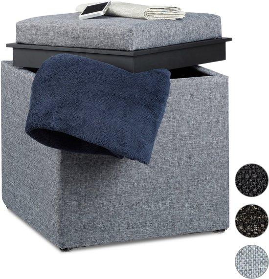 relaxdays - poef met dienblad - hocker opbergruimte - linnen opbergbox, tafeltje