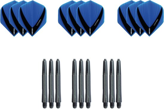 Dragon darts - Dartset - 3 sets V dart flights en 3 sets nylon  darts shafts - 18 pcs - Aqua - darts flights