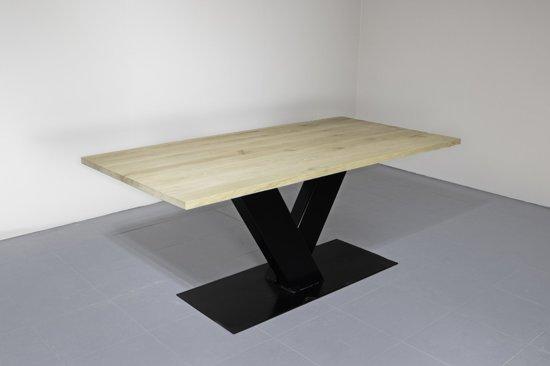 Eettafel Industrieel | V-poot-gekruist-zwart | 30mm-220x100-charcoal