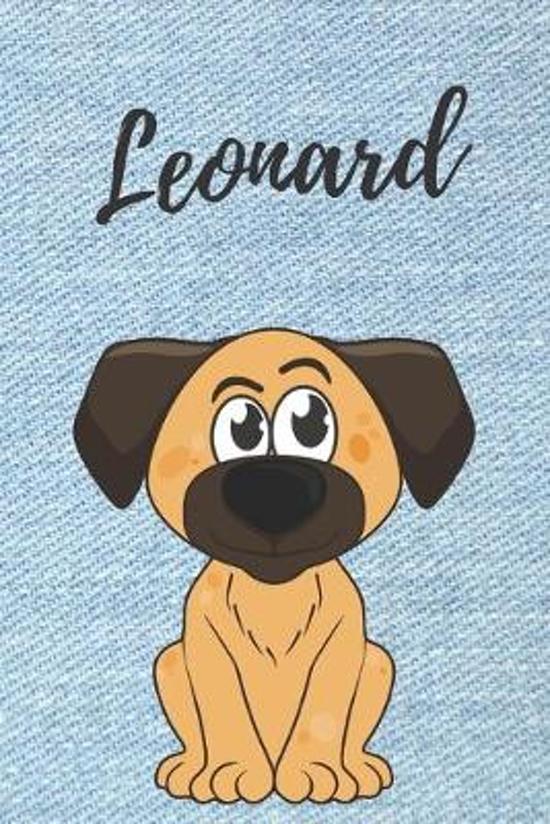 Leonard Hunde-Notizbuch / Malbuch / Tagebuch: Individuelles personalisiertes blanko Jungen & M�nner Namen Notizbuch, blanko DIN A5 Seiten. Ideal als U