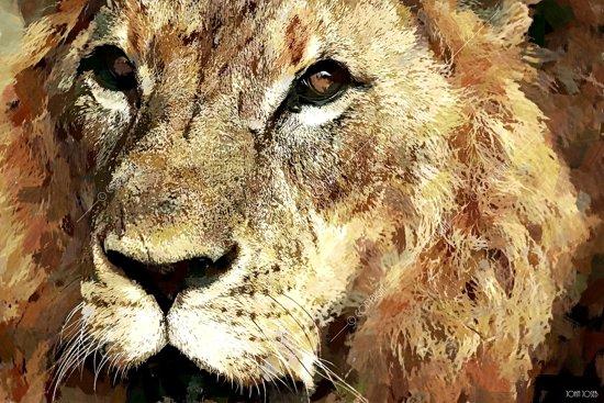 Leeuw in geschilderde olieverf look, bruin | dieren, sfeer, modern | Foto schilderij print op Dibond / Aluminium (metaal wanddecoratie) | 150x100cm