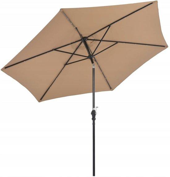 Ambiance - Deluxe parasol 270cm met 24 solar ledlampjes - taupe