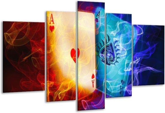Glasschilderij Spel | Rood, Blauw, Rood | 170x100cm 5Luik | Foto print op Glas |  F004587