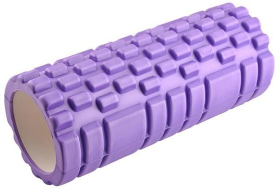 Fitness Foam Roller - Yoga Workout Roll - Pilates / Body Rug Massage Rol The Grid Roller - 34CM Paars