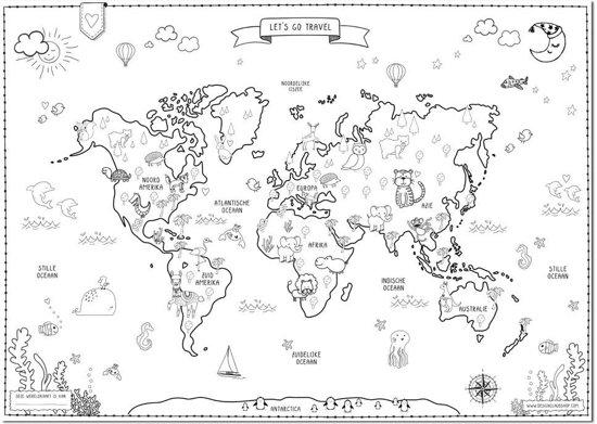 bol wereldkaart poster kinderen designclaud