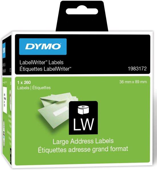 3x Dymo duurzame etiketten LabelWriter 89x36mm, 260 etiketten
