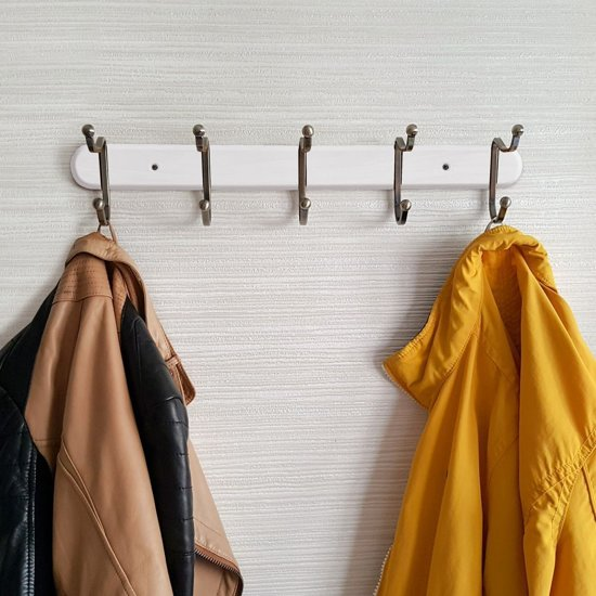 Wandkapstok Met 5 Dubbele Ophang Haken - Hangende Design Muurkapstok - Muur/Wand Kledinghaak Wardrobe - Hout/Metaal